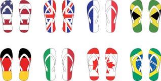 de Vectorillustratie van 8 de vlagpantoffels van landen Stock Afbeelding