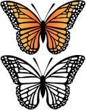 De VectorIllustratie van de Vlinder van de monarch Stock Afbeeldingen