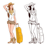 De VectorIllustratie van de Vrouw van de toerist Stock Fotografie