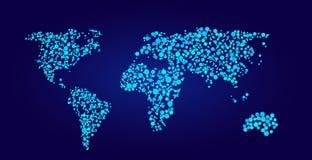 De vectorillustratie van de wereldkaart in puntenstijl Stock Foto's