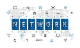 De vectorillustratie van de wereldwijd netwerktechnologie Royalty-vrije Stock Afbeeldingen