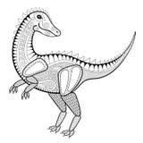 De vectorillustratie van de zentangledinosaurus, tyrannosaur druk voor a Stock Afbeeldingen