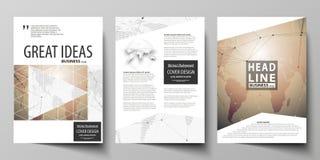 De vectorillustratie van editable lay-out van drie A4 formaat moderne dekking ontwerpt malplaatjes voor brochure, tijdschrift Royalty-vrije Stock Foto's