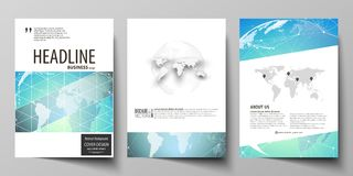 De vectorillustratie van editable lay-out van drie A4 formaat moderne dekking ontwerpt malplaatjes voor brochure, tijdschrift Stock Foto