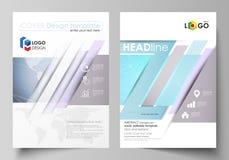 De vectorillustratie van editable lay-out van twee A4 formaat moderne dekking ontwerpt malplaatjes voor brochure, tijdschrift, vl Vector Illustratie