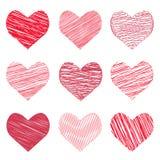 De vectorillustratie van een inzamelings hand-drawn beeld in de harten vormt zich voor de Dag van Valentine ` s Stock Foto