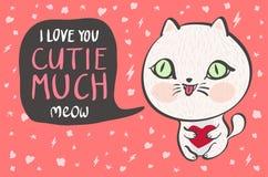 De vectorillustratie van een leuke witte kat met een hart zegt veel I-liefde u cutie Leuke romantische illustratie met grappige t stock illustratie