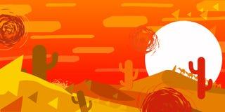 De vectorillustratie van een woestijn, zonsondergang, cactus, duinen, achtergrond is voor een computerspel vector illustratie