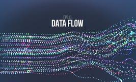 De vectorillustratie van de gegevensstroom De digitale stroom van het informatielawaai De berekening van de Blockchainstructuur royalty-vrije illustratie