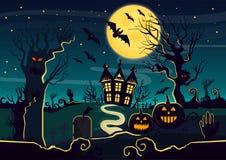 De vectorillustratie van geheimzinnigheid huis met pompoenlantaarns en schepselen verfraaide voor Halloween Halloween-kaart met stock illustratie
