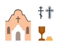 De vectorillustratie van godsdienstpictogrammen Stock Fotografie