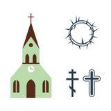 De vectorillustratie van godsdienstpictogrammen Stock Afbeelding