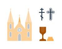 De vectorillustratie van godsdienstpictogrammen Stock Afbeeldingen