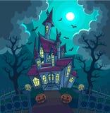 De vectorillustratie van Halloween met enge huis, maan en pompoen vector illustratie