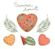 De vectorillustratie van hart vormde doughnut met roze suikerglazuur met groene palm en monsterabladeren en watermeloen royalty-vrije illustratie