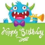 De Vectorillustratie van het beeldverhaalmonster De grappige Kaart van de Verjaardagsgroet Verjaardagsthema Zakmonster Monsterpij Royalty-vrije Stock Afbeelding