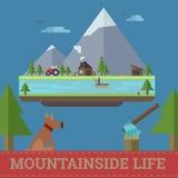 De vectorillustratie van het berghellingsleven Royalty-vrije Stock Afbeeldingen