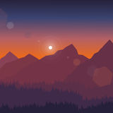 De vectorillustratie van het berglandschap Royalty-vrije Stock Afbeeldingen