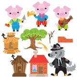 De vectorillustratie van het drie varkensbeeldverhaal royalty-vrije illustratie
