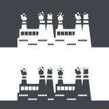 De vectorillustratie van het fabrieks zwart-wit Stock Foto's
