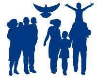de vectorillustratie van het familiesilhouet Stock Fotografie