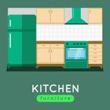 De vectorillustratie van het keukenmeubilair Modern keukenbinnenland Stock Afbeelding