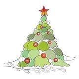 De vectorillustratie van het kleurenbeeldverhaal van Kerstmis Stock Afbeeldingen