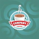 De vectorillustratie van het koffieembleem op achtergrond Stock Afbeelding