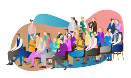 De vectorillustratie van het menigtepubliek Groep die mensen samen en het letten op toespraak, presentatie of conferentie zitten stock illustratie