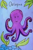 De vectorillustratie van het octopusbeeldverhaal Stock Foto