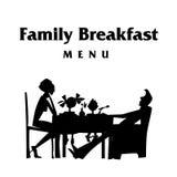 De vectorillustratie van het ontbijtsilhouet Stock Foto's