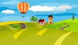 De vectorillustratie van het plattelandslandschap Stock Foto's