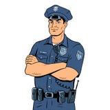 De vectorillustratie van het politieagentpop-art Stock Foto
