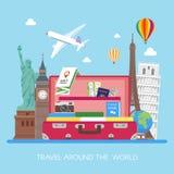 De vectorillustratie van het reisconcept in vlak stijlontwerp Vliegtuig die boven toeristenbagage vliegen Stock Fotografie