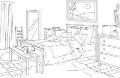 De Vectorillustratie van het rustieke Slaapkameroverzicht Royalty-vrije Stock Foto