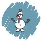 De vectorillustratie van het sneeuwmanpictogram op blauwe achtergrond stock fotografie