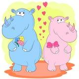 De vectorillustratie van het twee rinocerossenbeeldverhaal vector illustratie