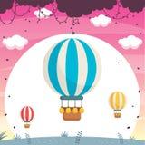 De Vectorillustratie van de hete Luchtballon Royalty-vrije Stock Afbeelding