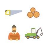 De vectorillustratie van houtpictogrammen Stock Afbeeldingen