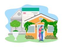 De vectorillustratie van Jongelui koppelt bij de deur van hun eigen huis royalty-vrije illustratie