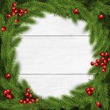 De vectorillustratie van de Kerstmiskroon op witte houten achtergrond vector illustratie