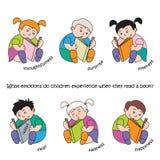 De vectorillustratie van kinderen leest een boek, een reeks kinderen` s emoties en stemmingen royalty-vrije illustratie