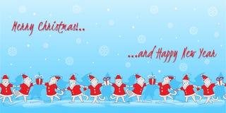 De vectorillustratie van de krabbel leuke dansende katten van de lijnkunst De grappige banner van Kerstmis royalty-vrije illustratie