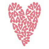 De vectorillustratie van leuke roze beeldverhaaldoughnut in een hartvorm, kan voor de groetkaarten van de valentijnskaartdag word stock illustratie