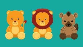 De Vectorillustratie van Lion Hyena Doll Set Cartoon royalty-vrije illustratie