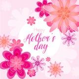 De vectorillustratie van mooie de groetkaart van de Moeders dag met bloesem bloeit in lichtrose kleur royalty-vrije illustratie