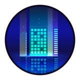 De vectorillustratie van de nachtstad met neongloed en levendige kleuren Royalty-vrije Stock Foto