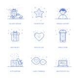 De vectorillustratie van pictogram het winkelen concept houdt van in lijnstijl Lineaire blauwe telefoon met geometrische symbolen Royalty-vrije Stock Foto's