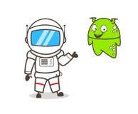 De Vectorillustratie van Presenting Alien Character van de beeldverhaalkosmonaut stock illustratie