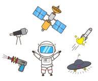 De Vectorillustratie van Presenting Space Items van de beeldverhaalastronaut royalty-vrije illustratie